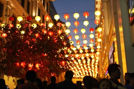 Beautiful Chinese lantern display at the Lucky Chinatown Walk.
