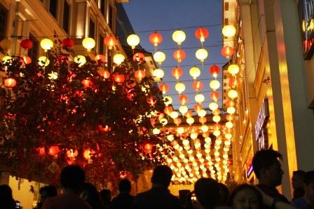 Beautiful Chinese lantern display at the Lucky Chinatown Walk.