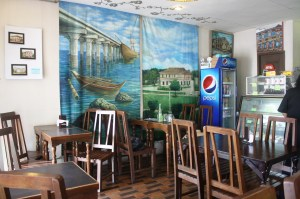 Paintings inside the cafe.
