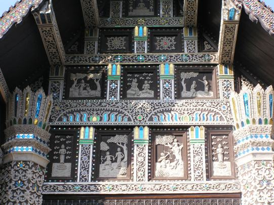 Intricate design on its wooden facade.