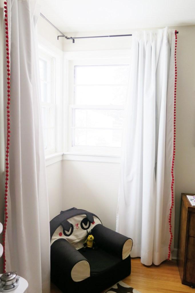 DIY blackout pom pom curtains