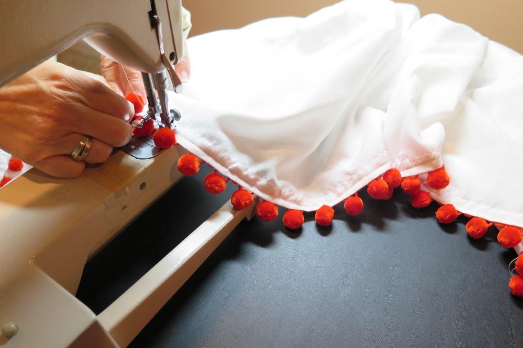 sewing the pom pom trim