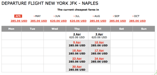JFK to Naples $609