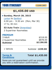 Cost of the Auto Train: $1,435 or 4,500 ponts?