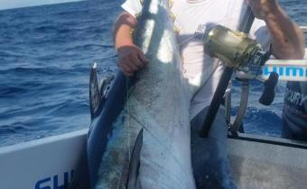 Leigh and Godfrey landed this monster off Port Mac
