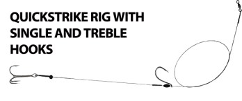 A basic quickstrike rig, designed to double hook the baitfish which allows the angler to set the hook instantly after the Pike or Muskie hits.