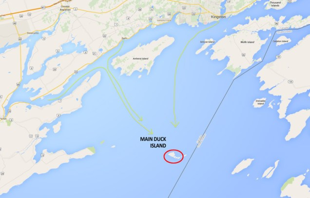 The 3 main routes to get to Main Duck Island is from the Bay Of Quinte, from Bath or from Kingston.