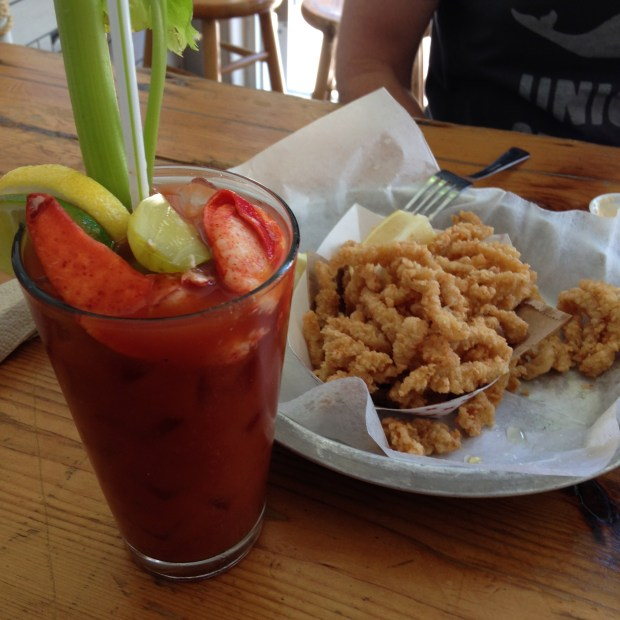 Lobster Joint - clam strips and lobster claw bloody mary