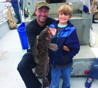Jacob Ward caught his first lingcod of his young fishing career while fishing aboard the Sea Wolf.