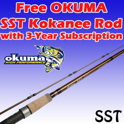 3 Years / 78 Issues w/ FREE Okuma SST Kokanee Rod