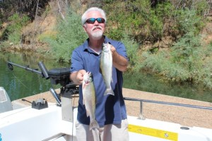 Dan Bacher, Fish Sniffer Editor, landed these two rainbows and two others, along with two bonus crappie, on a trip to Berryessa with Les Fernandes of Fish On Charters.