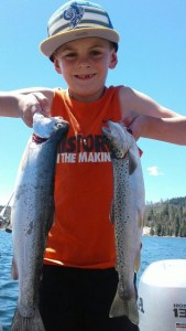 Young Drew Bundy showcased his fishing skills at French Meadows Reservoir this May when he trolled up several trout including this rainbow and brown.