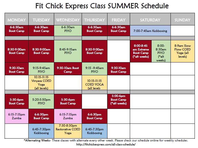 Summer 2016 Schedule