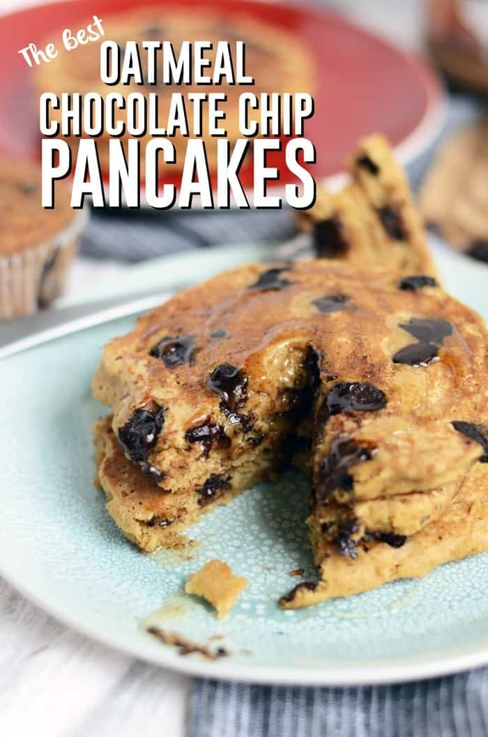 The Best Oatmeal Chocolate Chip Pancakes via FitFoodieFinds.com