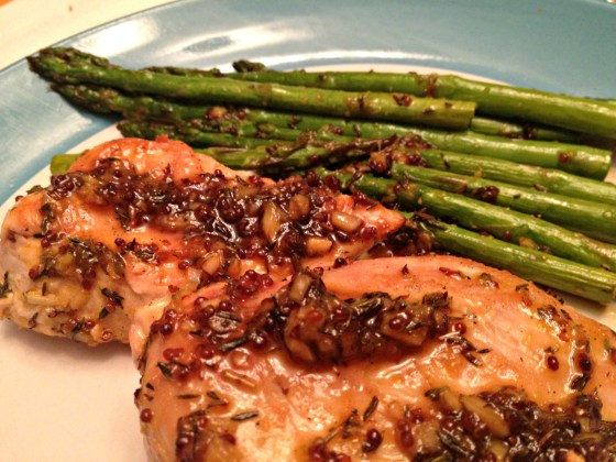 Maple mustard chicken with roasted asparagus
