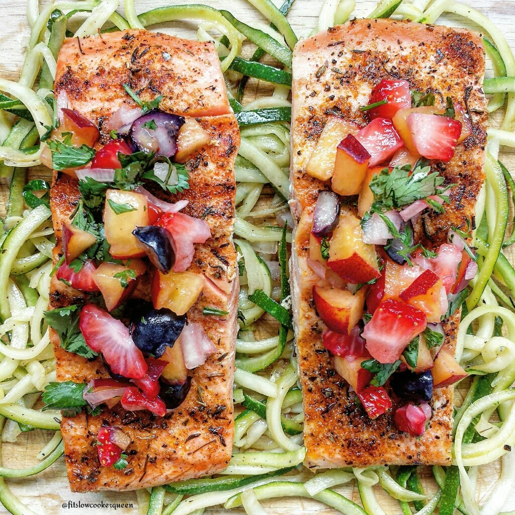 Salmon seasoned with a simple rub, topped with fruit salsa served on a ...