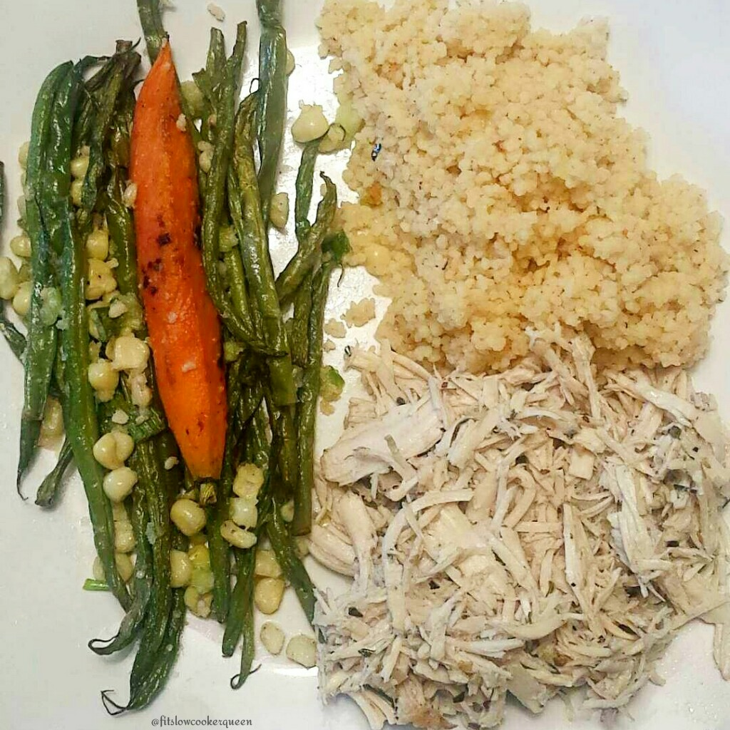 Healthy plate using Slow Cooker Easy Greek Shredded Chicken