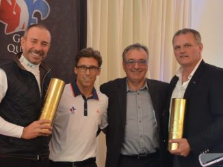 Photo credit by Golf Québec: Honorary Co-Presidents, Pierre Pomerleau et Vincent Damphousse, with François Roy, Assistant Executive Director of Golf Québec, and Marcel Paul Raymond, President of Golf Québec