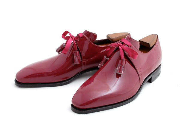 Pierre Corthay Framboise Patent Shoes With Silk Ribbon Laces