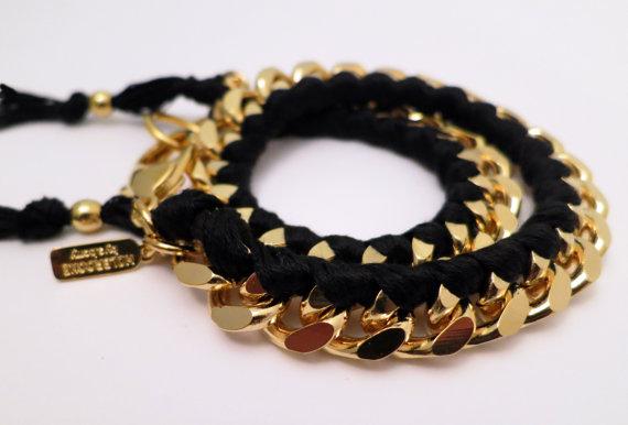 Holbrooke Noir Gold Double Wrap Bracelet