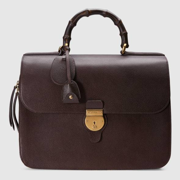 Men's Gucci Leather briefcase With Bamboo