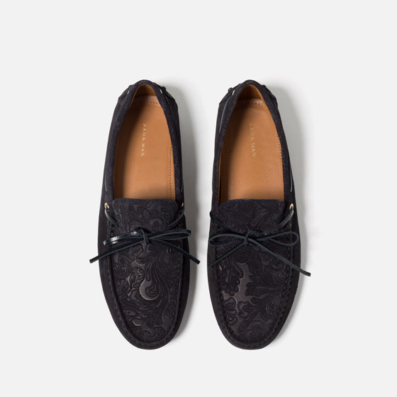 Zara Men's Leather Brocade Loafers