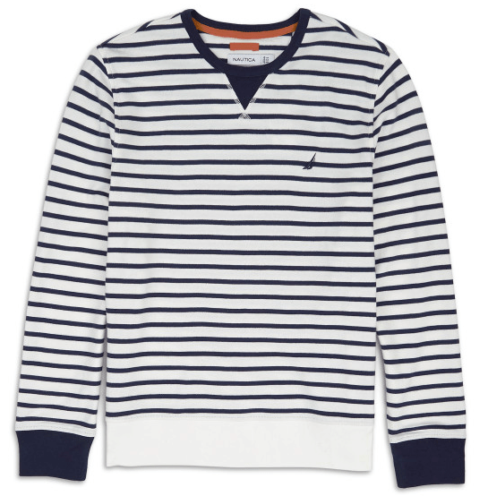 Nautica French Terry Breton Strip Crew Pullover Sweater