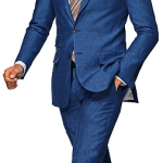 Suitsupply Washington Blue Plain Linen Suit