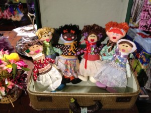 Dolls made from vintage fabric