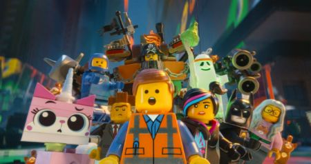 Emmett and friends in The LEGO Movie