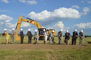 A ceremonial groundbreaking event for the new 224,000 square foot fourth building was held on June 3, 2014, at the National Museum of the U.S. Air Force. (left to right) Amanda Wright Lane, great-grandniece of Orville and Wilbur Wright; Col. Cassie B. Barlow, Commander of 88th Air Base Wing; Fran Duntz, Chairman of the Air Force Museum Foundation Board of Managers; Lt. Gen. (Ret.) Jack Hudson, Director of the National Museum of the U.S. Air Force; Gen. Janet Wolfenbarger, Commander of Air Force Materiel Command; Deborah Lee James, Secretary of the Air Force; Gen. Larry Spencer, Vice Chief of Staff of the Air Force; Lt. Gen. Stephen L. Hoog, Assistant Vice Chief of Staff of the U.S. Air Force; David Dale, Director of Program, U.S. Army Corps of Engineers; Kyle E. Rooney, Vice President and General Manager of Turner Construction Co. (Columbus); and Chief Master Sgt. Michael J. Warner, Command Chief for Air Force Materiel Command. (U.S. Air Force photo by Don Popp)