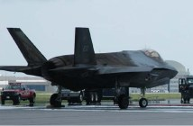 A burned F-35A sits on the flightline at Eglin Air Force Base, Florida, on June 23, 2014.
