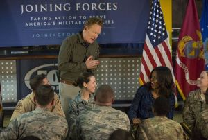 Conan O'Brien entertains troops at Al Udeid Air Base in Qatar with First Lady Michelle Obama Tuesday. (From Michelle Obama's Instagram page)