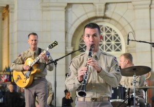 Master Sgt. Tyler Kuebler, the music director for the Airmen of Note, plays Jingle Bells on clarinet at Union Station Dec. 3. (U.S. Air Force photo/Jim Lotz)