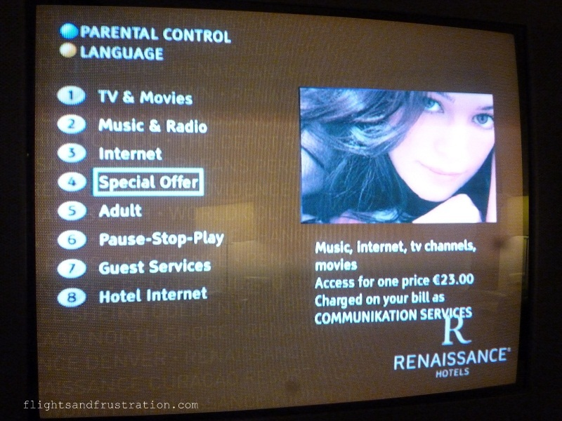 TV menu at The Renaissance Hotel in Hamburg
