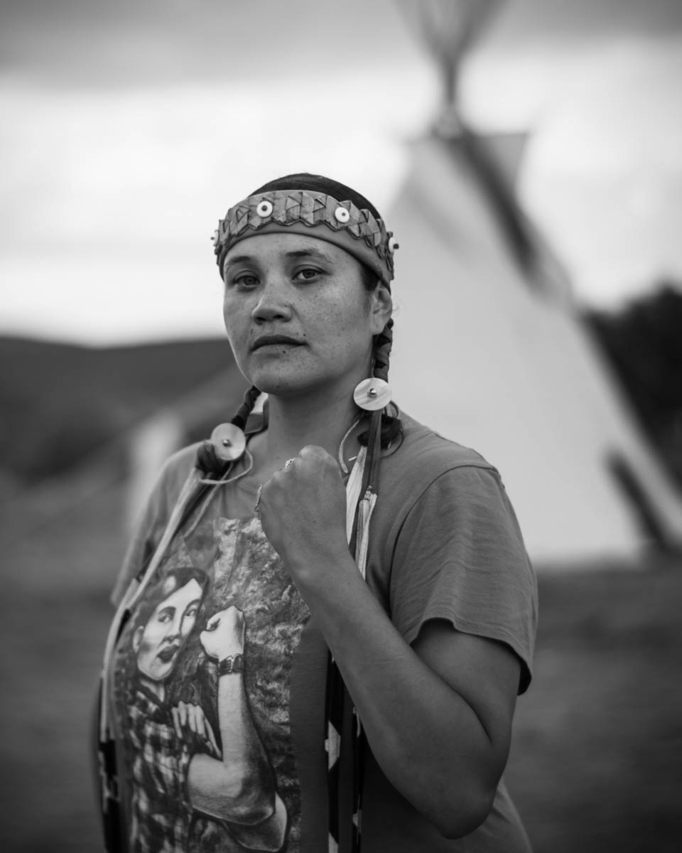Tweesna Rose Mills, daughter of a Native American activist, in solidarity with the Standing Rock Sioux Tribe