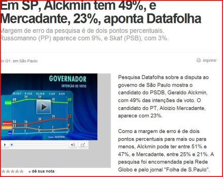 MERCADANTE E ALCKMIN DISPUTARÃO 2ºTURNO