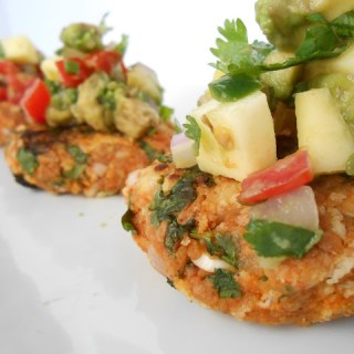 Sweet Potato Chorizo Cakes w/ Mango-Avocado Salsa