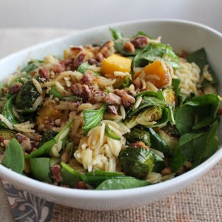 Squash & Brussels Sprouts Pasta Salad w/ Brown Sugar Balsamic Vinaigrette