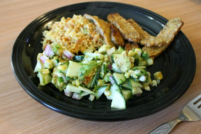 corn, cucumber & avocado salad