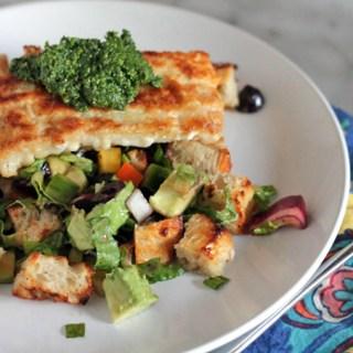 Mediterranean Panzanella Salad w/ Crispy Mahi Mahi