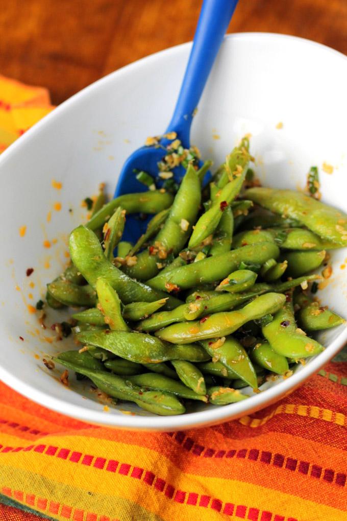 spicy lemongrass chili edamame