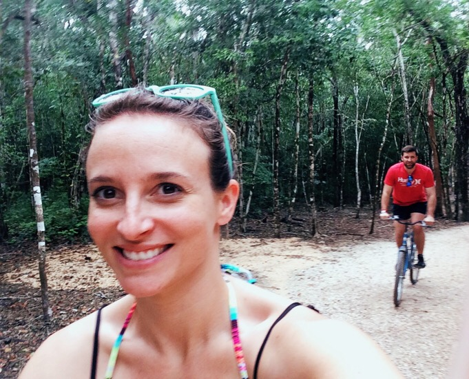 rented bikes to ride around the Mayan ruins in the jungle! way too fun.