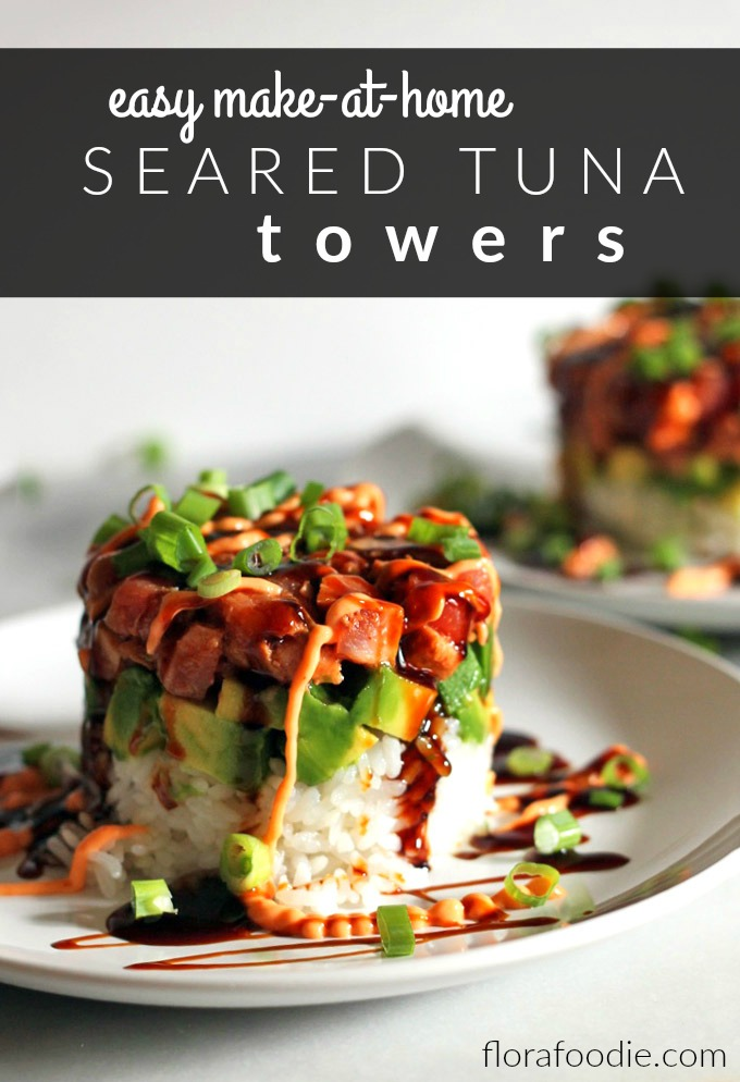 seared tuna tower