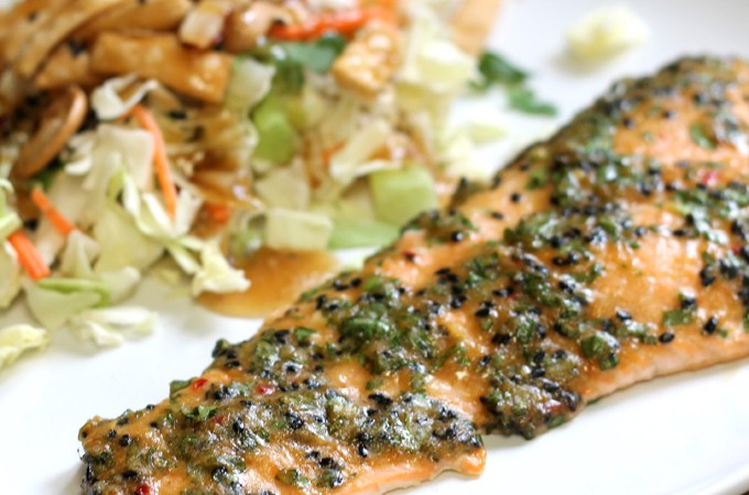 sesame herb crusted salmon