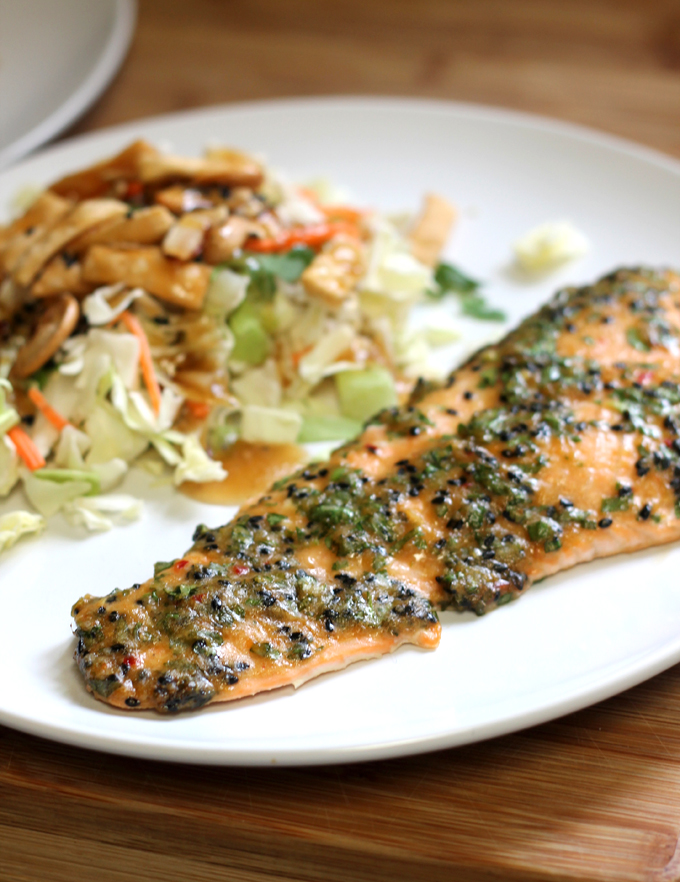 Sesame Herb Crusted Salmon Recipe - Easy Weeknight Meal - Flora Foodie