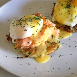 Zucchini Latke Eggs Benedict with Smoked Salmon