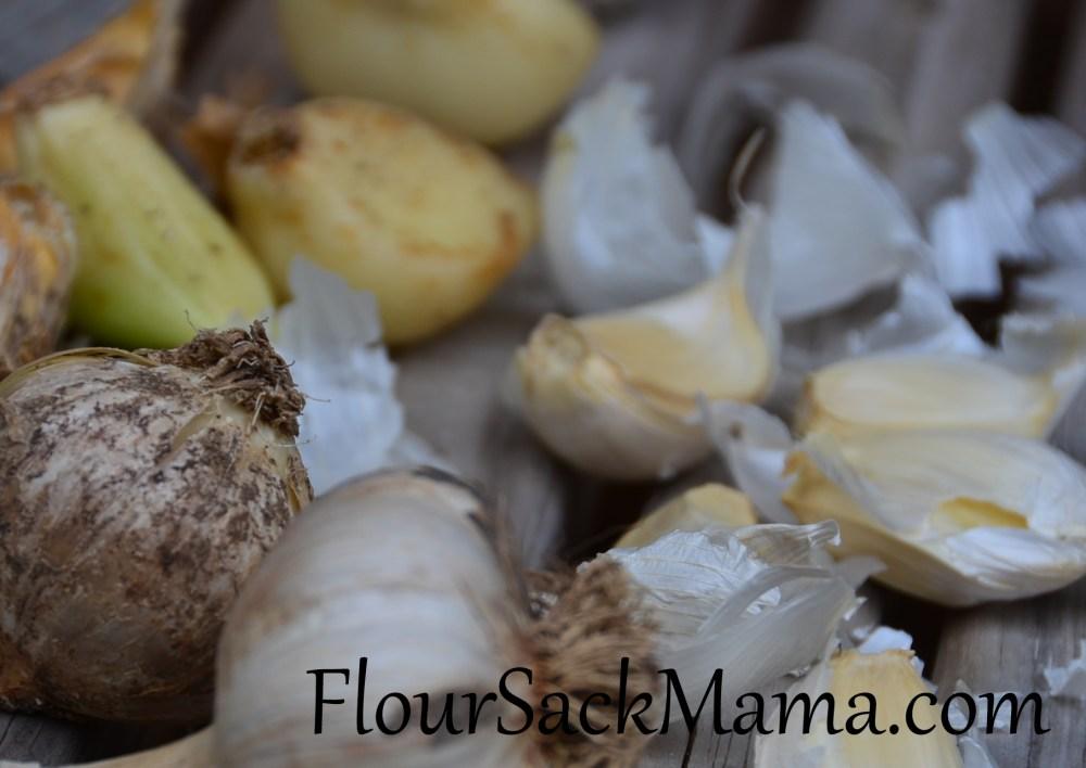 Garlic bulbs, some dirty