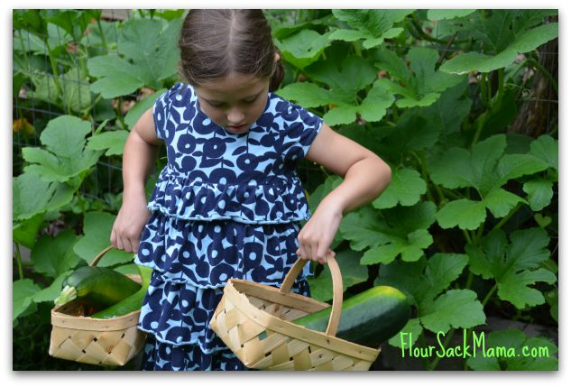 Child holds two baskets of zucchini in lush green garden