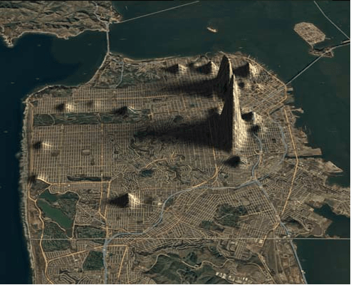 San Francisco crime mapped as elevation
